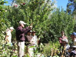 Jerome Osentowski speaks to group at CRMPI forest garden